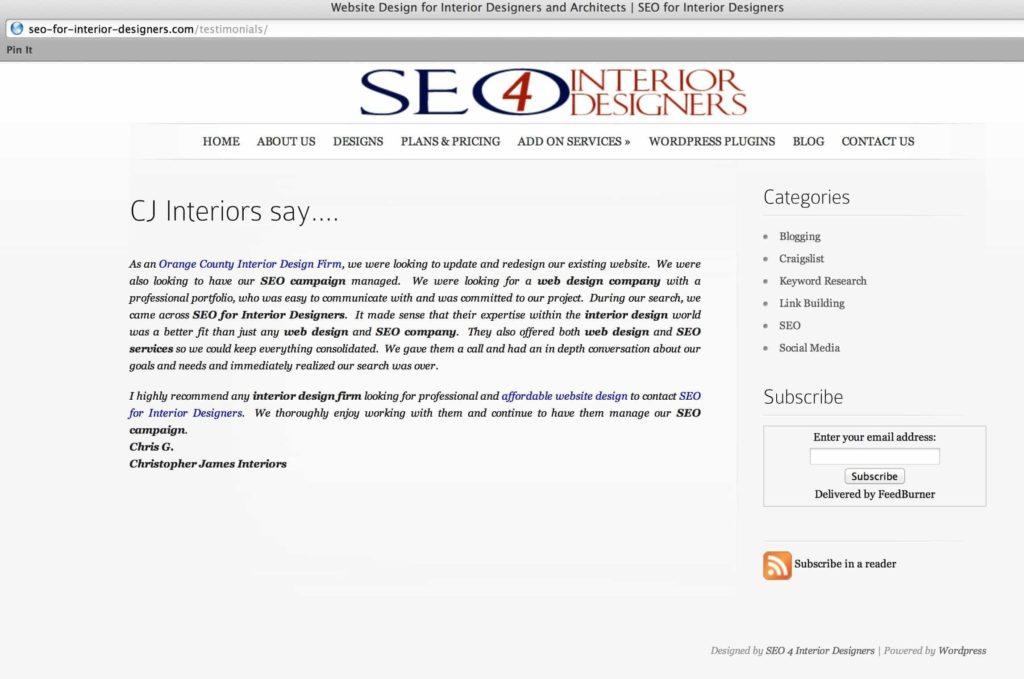 seo for interior designers testimonial